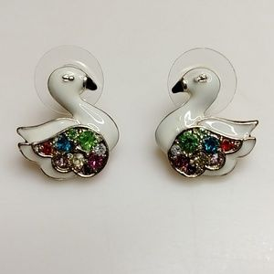 Anna Sui White Swan Birds Color Crystals Earrings